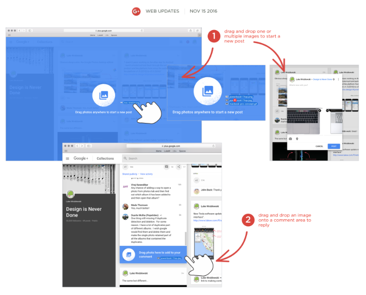 Image drag-and-drop now works on the new Google+ web interface