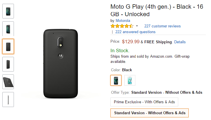 [Update: B&H too] [Deal Alert] The Moto G4 Play is only $129.99 ($20 off) on Amazon