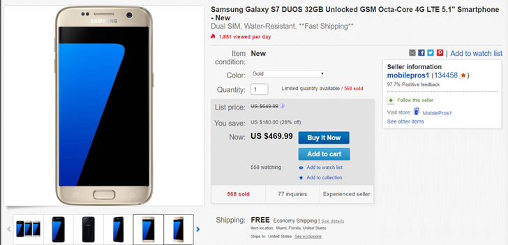 [Deal Alert] eBay has the Galaxy S7 Duos for $470, Galaxy S7 Edge Duos for $520 (gold only)