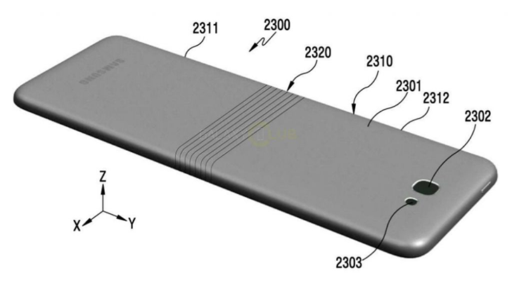 Patent drawings of a Samsung foldable phone design published