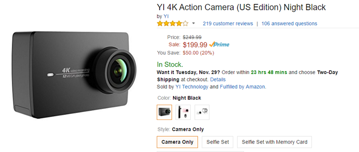 [Deal Alert] The YI 4K Action Camera is $50 off ($200) at Amazon