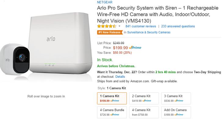 [Deal Alert] Netgear's Arlo Pro security camera is $50 off ($199.99) via Amazon