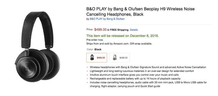 Bang and Olufsen's new headphones, the Beoplay H9, are up for pre-order at Amazon