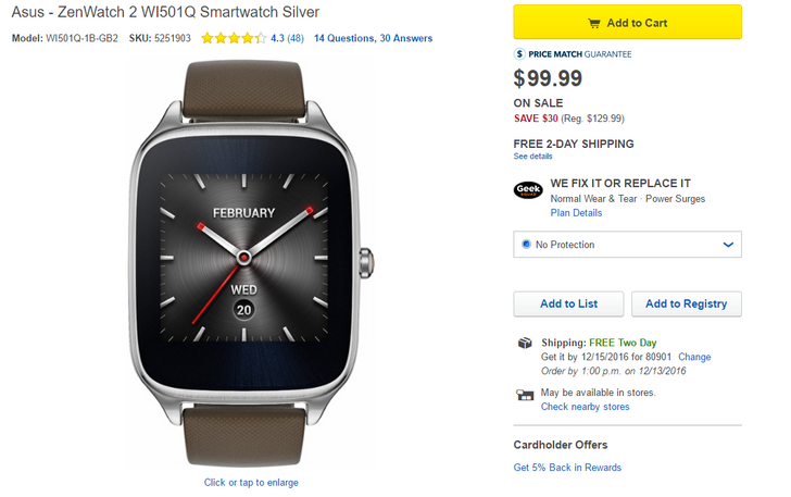 [Deal Alert] Grab an Asus ZenWatch 2 for up to $50 off at Best Buy today only, plus $25 off with Visa Checkout