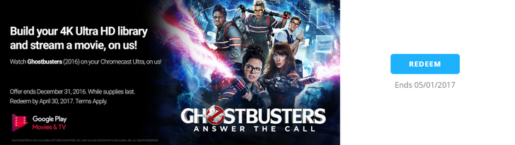 Chromecast Ultra owners can get Ghostbusters (2016) for free from Google Play Movies