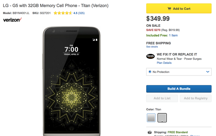 [Deal Alert] Get carrier-branded LG G5s at Best Buy for just $350 ($230+ off)