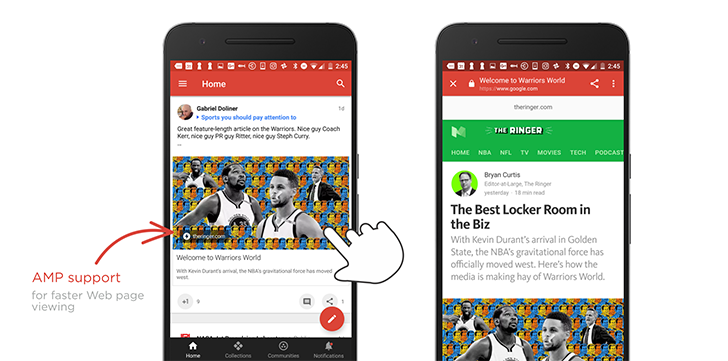 Support for AMP links rolling out in the Google+ Android app