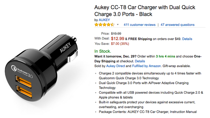 [Deal Alert] Grab an Aukey dual port Quick Charge 3.0 car charger for $12.99 ($7 off)