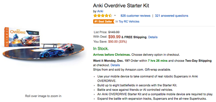 [Deal Alert] Anki Overdrive Starter Kit is down to $99.99 on Amazon ($50 off)