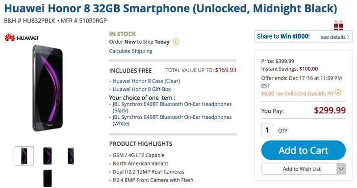 [Deal Alert] Huawei Honor 8 is $100 off at several retailers with over $200 in freebies including JBL Synchros Bluetooth headphones