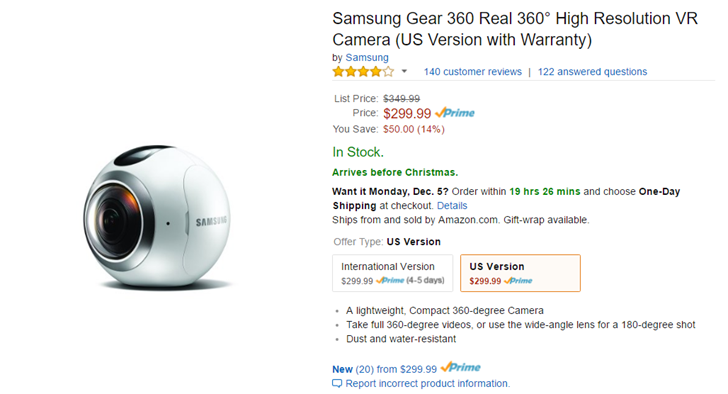 [Deal Alert] The Samsung Gear 360 camera is $50 off at Amazon, Best Buy, and B&H Photo