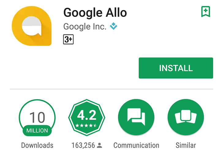 Google Allo just surpassed 10 Million downloads on the Play Store
