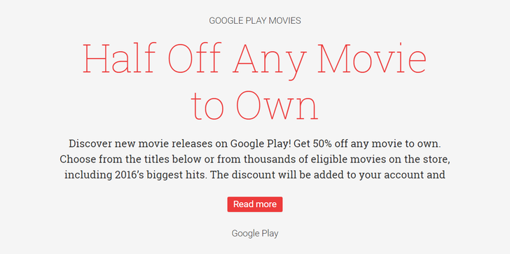 [Deal Alert] Score a movie rental for $0.99 and take 50 percent off any single movie purchase at Google Play Movies (many new releases just $5 with promo)