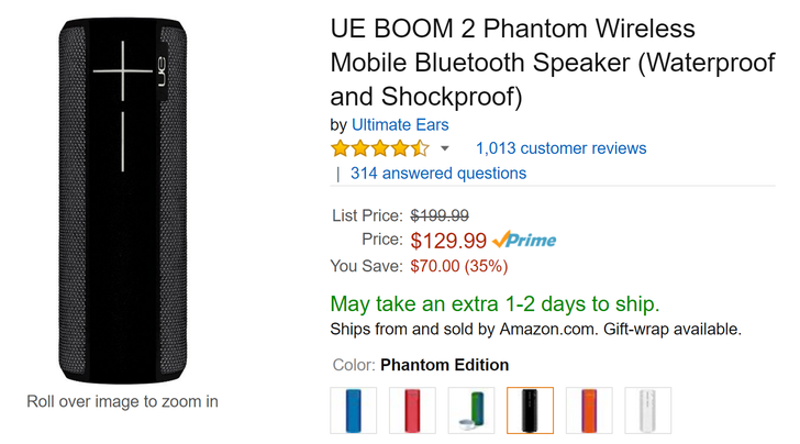 [Deal Alert] UE Boom 2 on sale for $130, down from $200, on Amazon (multiple colors available)