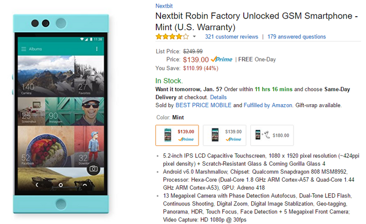 [Deal Alert] Nextbit Robin on sale for $139 on Amazon with Prime shipping