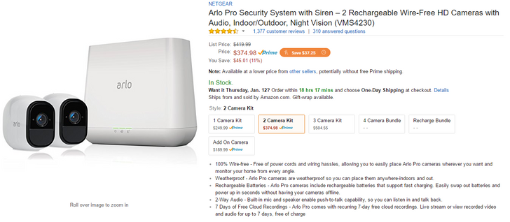 [Deal Alert] The Arlo Pro 2-pack is $375 on Amazon ($45 off)