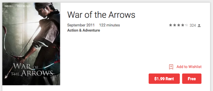[Deal Alert] Korean movie War of the Arrows is free on Google Play (US and Canada)