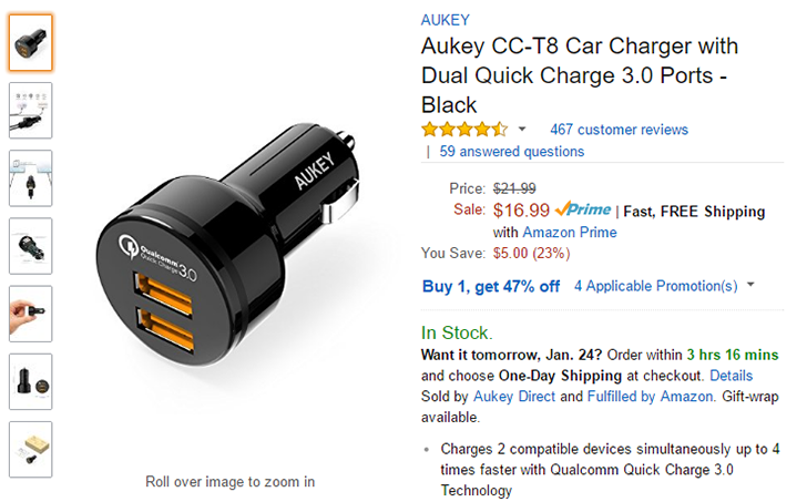 [Deal Alert] Aukey CC-T8 car charger with Quick Charge 3.0 is $9 (47% off) on Amazon after coupon