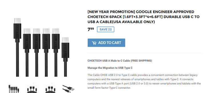 [Deal Alert] Check off a New Year's resolution and get a six-pack (of Choetech USB Type C-A cables) for $7.99 ($3 off)