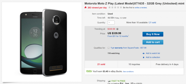 [Deal Alert] Get a new Moto Z Play for just $399.99 ($50 off), or save an additional $60 for one in mint condition