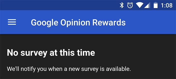 Google Opinion Rewards update adds a hamburger menu and notification sounds