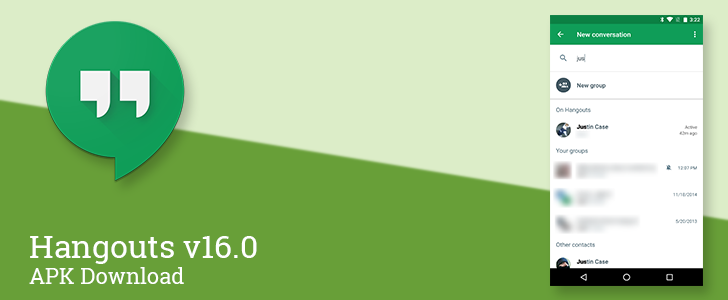 Hangouts v16 reorganizes its contact list and search results [APK Download]