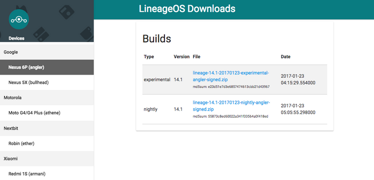 The first official Lineage OS builds are up, starting with the Nexus 6P and 5X with more on the way