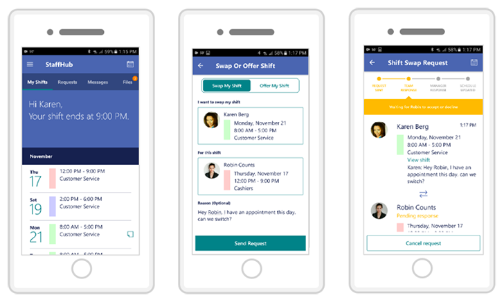 Microsoft StaffHub is a workplace shift management app for Office 365 subscribers
