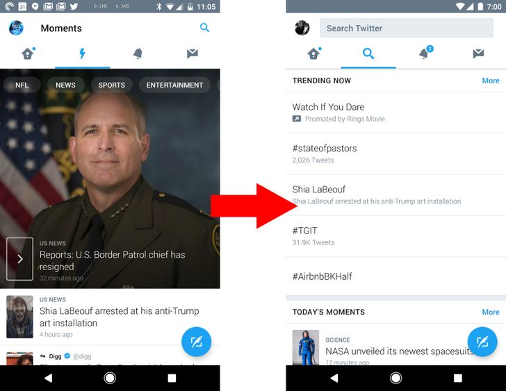 Twitter app is merging search, trends, and Moments into a single 'Explore' tab