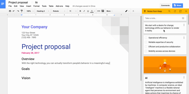 Google integrates Keep with Docs for easy access to your notes
