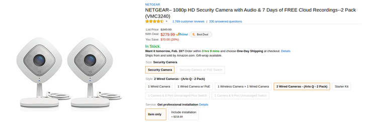 [Deal Alert] Get an Arlo Q 2-pack from Amazon for $280 ($70 off)