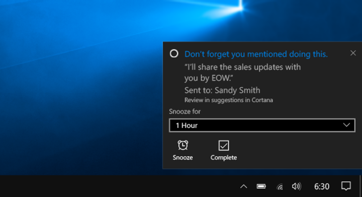 Cortana learns how to keep you on track, even if you forget to ask
