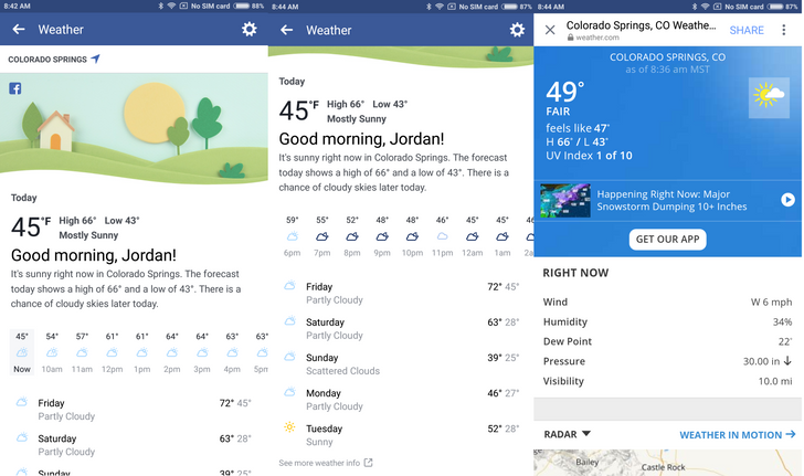 Facebook is hoping to supplant your weather app