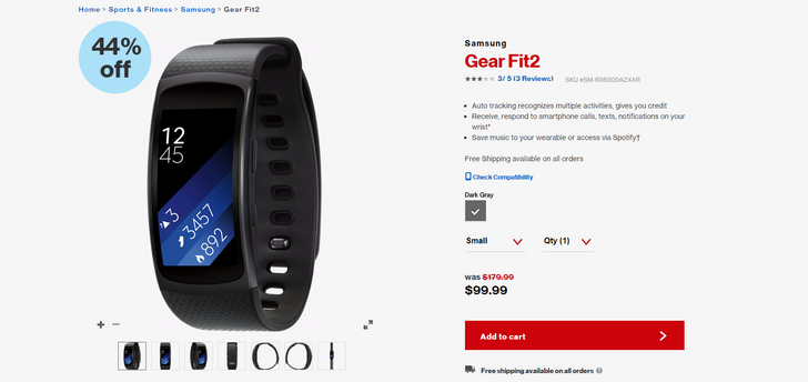 [Deal Alert] Get a Samsung Gear Fit2 for $100 from Verizon ($80 off)
