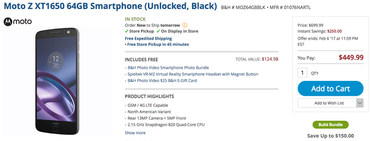 [Update: Moto Mod bundle deals] Deal Alert: Get a 64GB Moto Z with a bunch of extras for just $449.99 from B&H ($250 off)