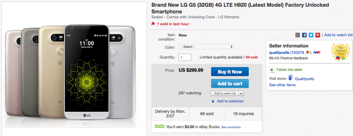 [Deal Alert] Get a new and unlocked LG G5 with a warranty for just $299.99 on eBay