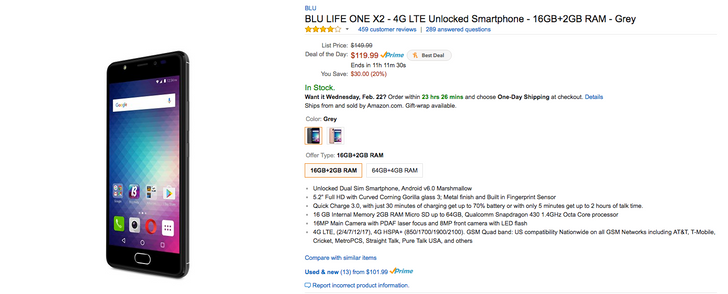 [Deal Alert] The 16GB BLU Life One X2 is $120 from Amazon's Gold Box Deals ($30 off)