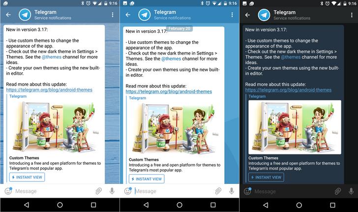 Telegram v3.17 brings the long overdue support for custom themes