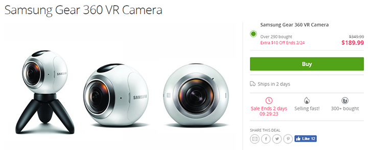 [Deal Alert] Get a Samsung Gear 360 camera for $189.99 ($160 off) from Groupon