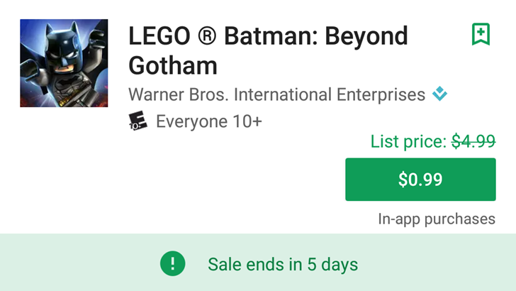 Play Store listings showing original and sale prices for some apps