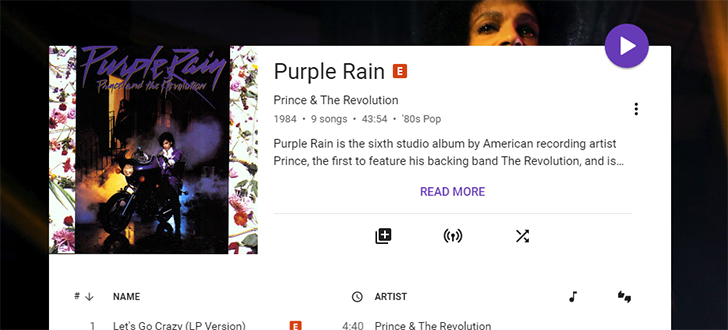 Prince's early albums are now streaming on Google Play Music (and other services), web app turns purple for the occasion