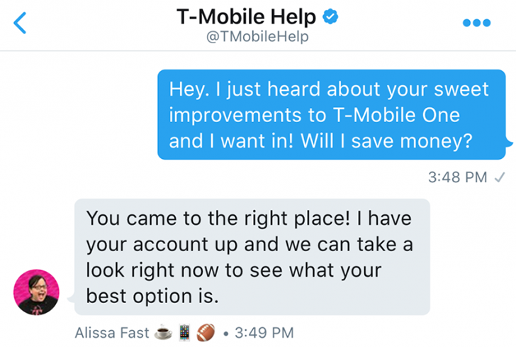 Twitter custom profiles for Direct Messages help personalize customer support chats, starting with T-Mobile