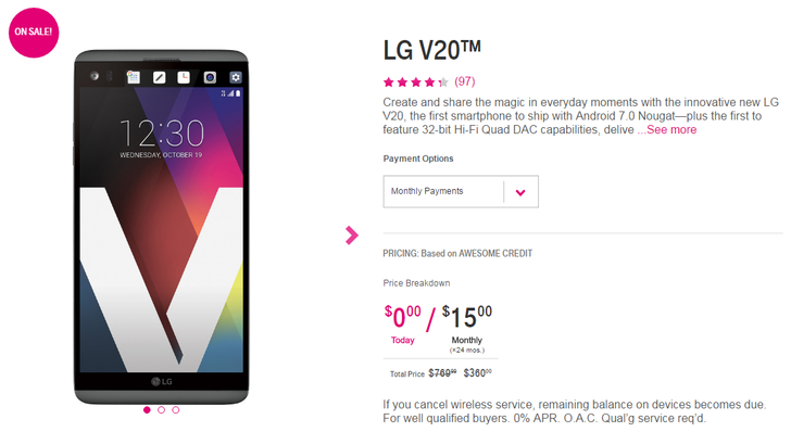 [Smoking Hot Deal Alert] The LG V20 is on sale at T-Mobile for just $360, plus get a free LG MiniBeam projector ($350 value) by mail after your purchase