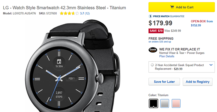 [Update: B&H too] Deal Alert: All colors of the LG Watch Style are $179 ($70-100 off) at Best Buy