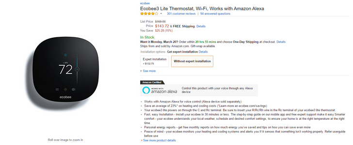 [Deal Alert] Grab an EcoBee3 Lite thermostat for $144 ($25
