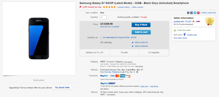 [Deal Alert] Get a black unlocked Galaxy S7 for $400 ($176 off)