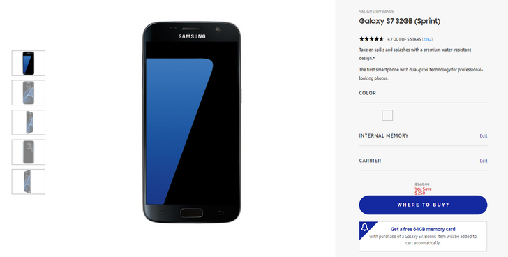[Deal Alert] Snag a Galaxy S7/S7 edge (Sprint) from Samsung for $300/$445 and get a free SD card ($250 off)