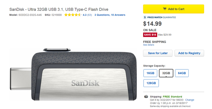 [Update: now 17.99] Deal alert: Pick up a SanDisk Ultra 32GB dual USB-C/A drive for $14.99 at Best Buy (half off)