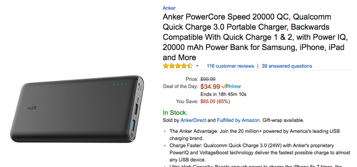 [Deal Alert] Get a 5-port Anker Quick Charge 3.0 wall charger for $26.99 and a 20,000mAh Quick Charge 3.0 battery for $34.99 as part of Amazon's Deal of the Day