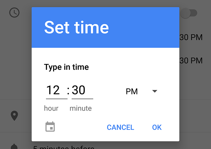Android O feature spotlight: The time picker now has a manual text entry mode